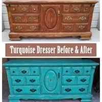 Turquoise Dresser Before & After