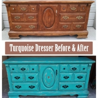 Before & After - Dressed in distressed Turquoise with Black Glaze