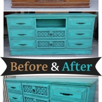 Turquoise Dresser Console - Before & After