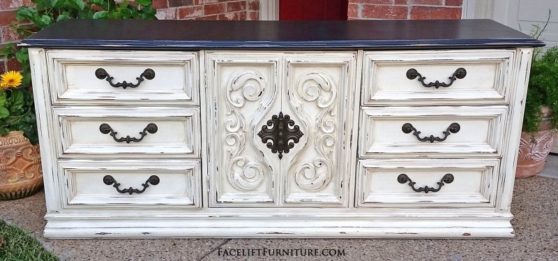 Vintage Dresser In Distressed Off White With Glaze Top Painted Dark Brown 9