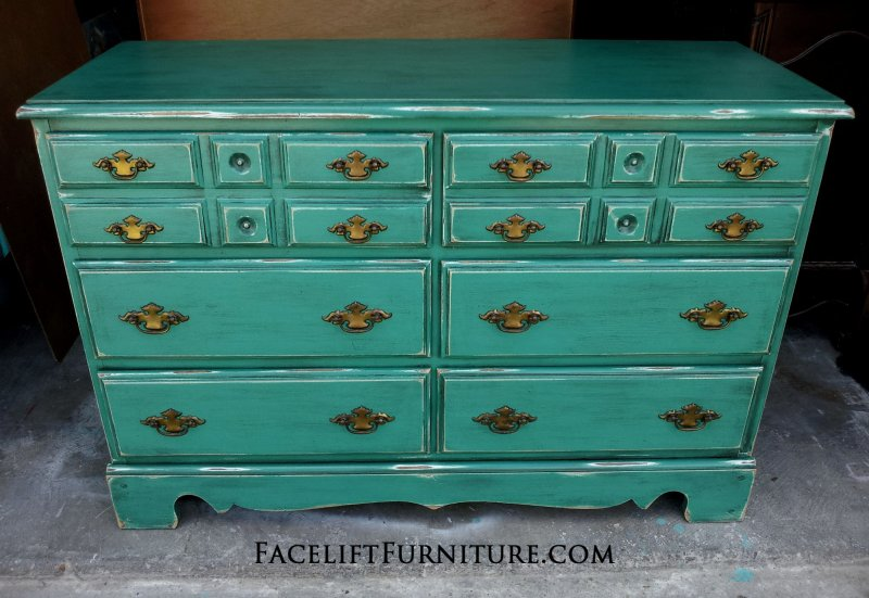 Maple Dresser painted Jade, with Black Glaze. Original pulls, From Facelift Furniture's Dressers collection.