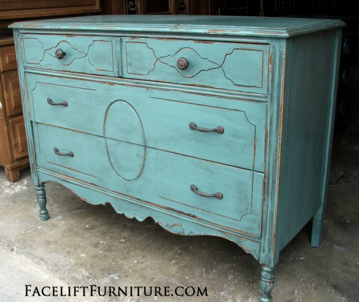 Rustic chippy distressed Sea Blue Dresser with new pulls. From Facelift Furniture's Dressers collection.
