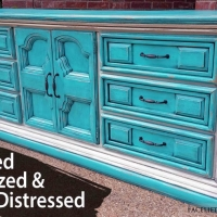 "Large Dresser in distressed Turquoise and Off White with Black Glaze. Nine drawers. 80"" long, 20.5"" deep, 33"" tall. From Facelift Furniture's Dressers collection."