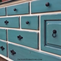 Large Dresser in Off White, with Black Top and Sea Blue drawers. Glazed Black, with distressing revealing white primer and original woods tones. Original pulls painted Black. From Facelift Furniture's Dressers collection.
