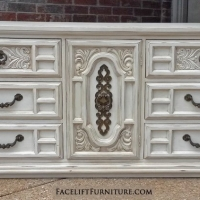 Large Ornate Dresser in distressed Off White with Tobacco Glaze. Nine Drawers.