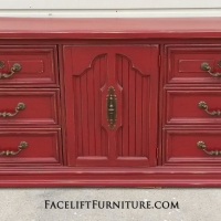 Large Dresser in distressed Chili Pepper Red with Black Glaze. Original pulls. From Facelift Furniture's Dressers collection.