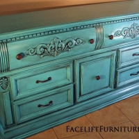 Ornate Dresser in Turquoise with Black Glaze. New Pulls From Facelift Furniture's Dressers collection.