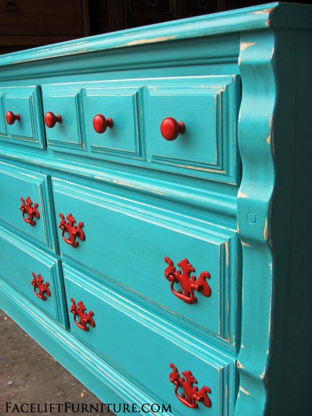 Turquoise Dresser with Paprika pulls. From Facelift Furniture's Dressers collection.