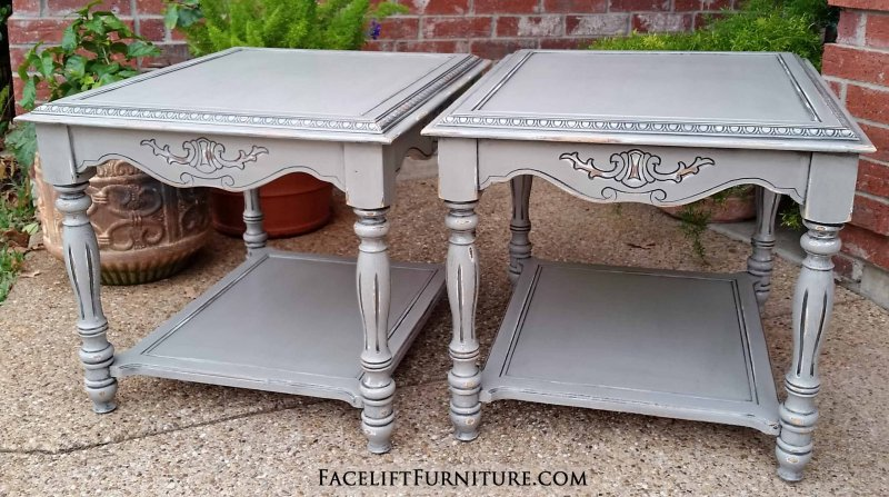 Ornate End Tables In Aspen Gray With Black Glaze. Distressing Reveals White  Primer And Original