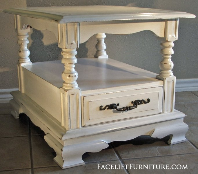 Distressed Chunky Antiqued White End Table. From Facelift Furniture's End Tables collection.