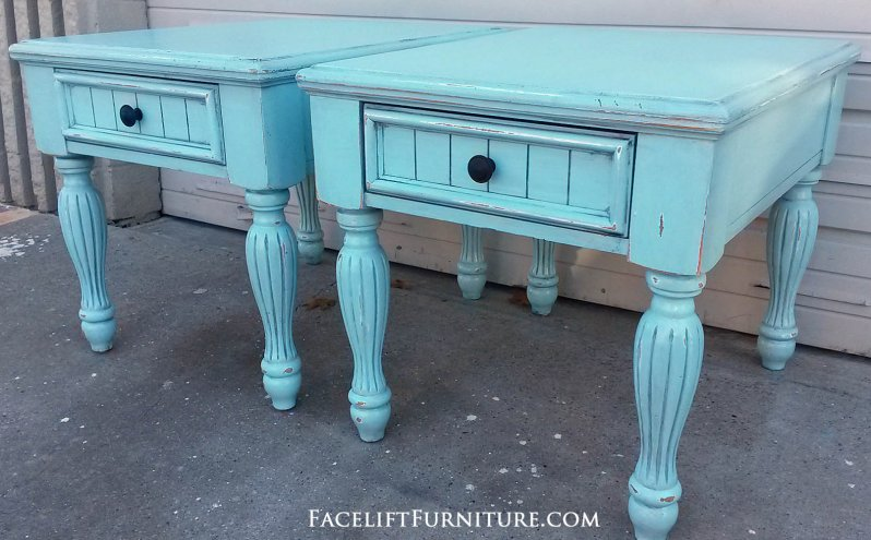 Chunky Pale Blue End Tables with Black Glaze. From Facelift Furniture's End Tables collection.