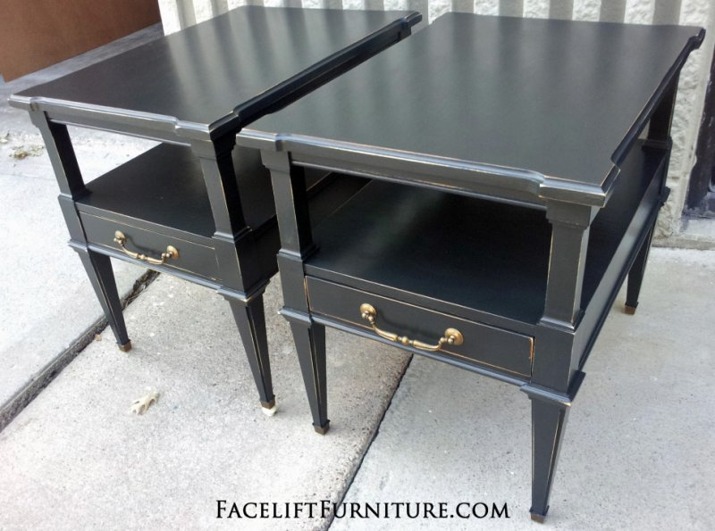 Distressed Black End Tables. From Facelift Furniture's End Tables collection.