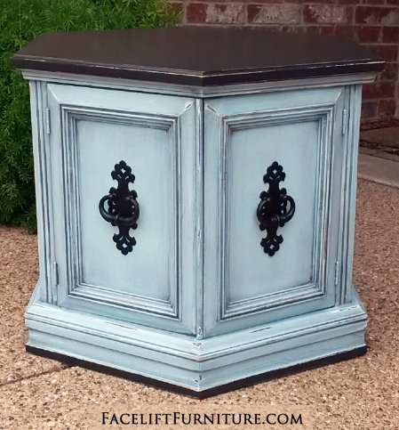 """For Sale $135 - Hexagon End table in distressed Black & Robin's Egg Blue. Original vintage pulls painted black. 27"""" deep, 23.5"""" wide, 20"""" tall. Call 979-575-7627 to purchase."""
