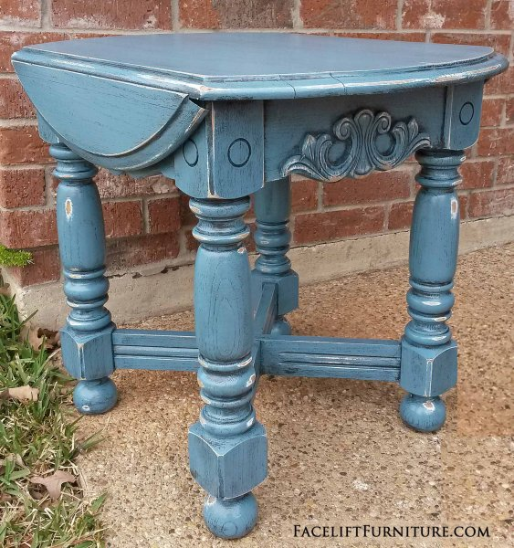 """Chunky End Table in distressed Thundercloud Blue and Black Glaze. 18"""" wide, 25"""" deep, 21"""" tall."""