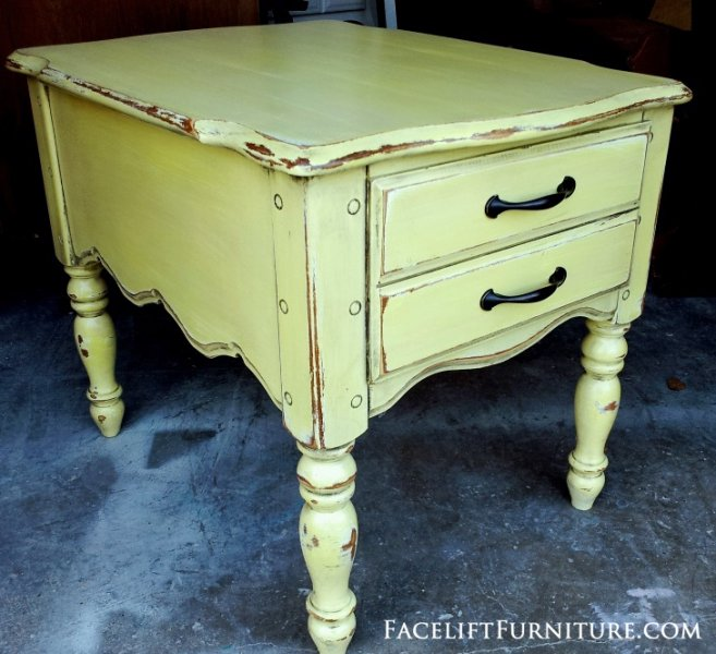 End Table in Lowe's Valspar Desert Hotsprings Yellow. . From Facelift Furniture's End Tables collection.