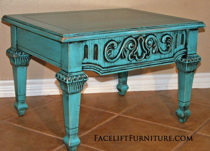 Ornate Turquoise End Table with Black Glaze. From Facelift Furniture's End Tables collection.