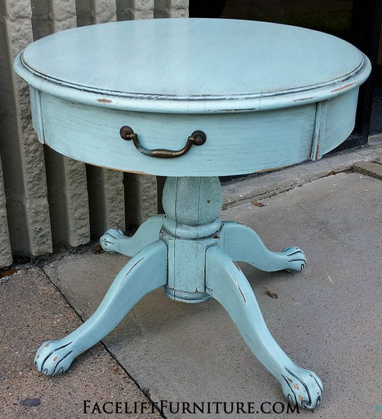 Pedestal Table in Pale Blue with Black Glaze. Pedestal Table in Pale Blue with Black Glaze. From Facelift Furniture's End Tables collection.