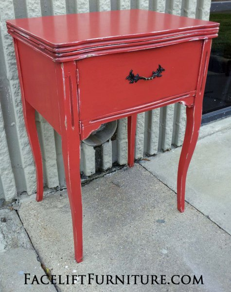 Sewing Table in Blazing Orange with Black Glaze. From Facelift Furniture's End Tables collection.