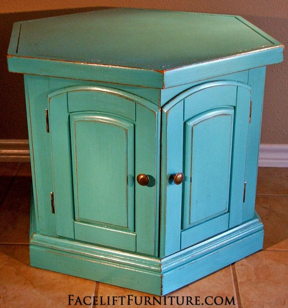Turquoise Hexagon End Table. From Facelift Furniture's End Tables collection.