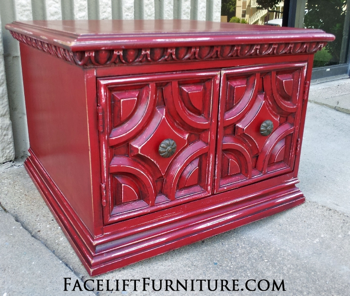 Square End Table in distressed Chili Pepper Red over White Primer, with Black Glaze. From Facelift Furniture's End Tables collection.