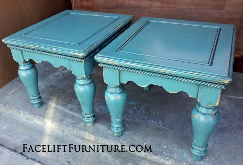 Chunky Pine End Tables in distressed Sea Blue with Black Glaze. From Facelift Furniture's End Tables collection.
