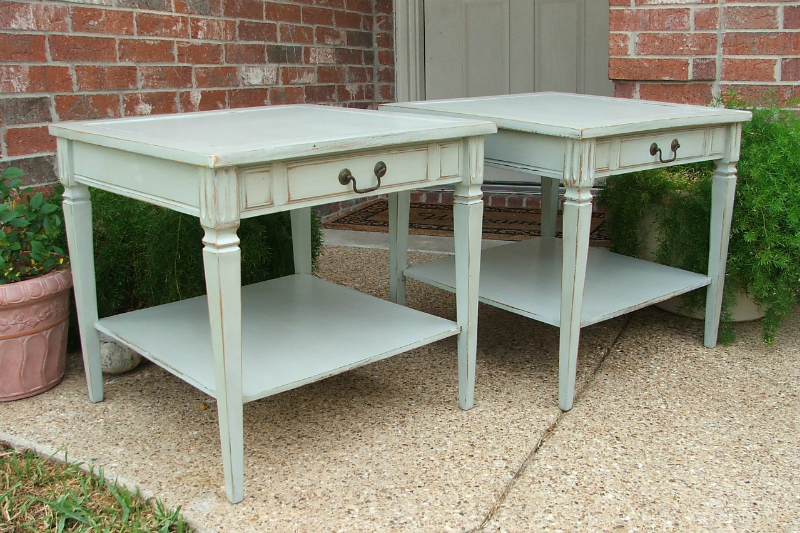 Matching End Tables in Weathered Grey and Tea Stained. From Facelift Furniture's End Tables collection.