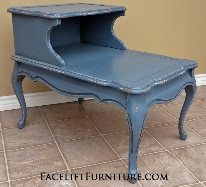 """French End Table in distressed Slate Blue over white primer, with Black Glaze. 29"""" long, 20"""" wide, 23.5"""" tall."""