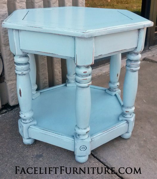 Chunky Hexagon End Table with distressed Robin's Egg Blue with Black Glaze. From Facelift Furniture's End Tables collection.