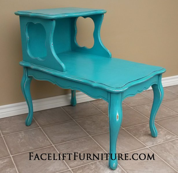 French End Table in distressed Turquoise with Black Glaze. From Facelift Furniture's End Tables collection.