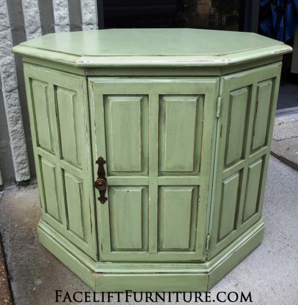 Sage Green Octogon End Table with Black Glaze. Turquoise Hexagon End Table with Black Glaze. From Facelift Furniture's End Tables collection.