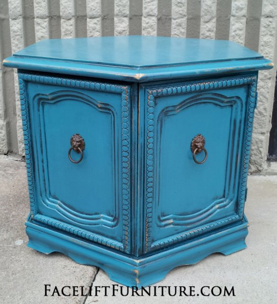 Hexagon End Table in distressed Peacock Blue with Black Glaze. From Facelift Furniture's End Tables collection.