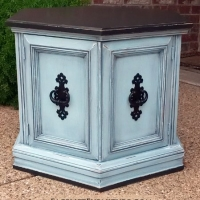 "For Sale $135 - Hexagon End table in distressed Black & Robin's Egg Blue. Original vintage pulls painted black. 27"" deep, 23.5"" wide, 20"" tall. Call 979-575-7627 to purchase."