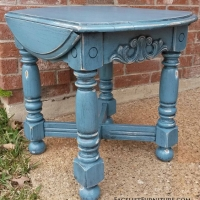 "Chunky End Table in distressed Thundercloud Blue and Black Glaze. 18"" wide, 25"" deep, 21"" tall."