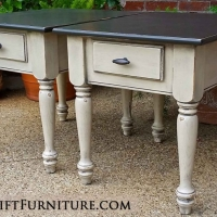 Matching end tables in distressed dark brown and oatmeal, with black glaze accenting oak grain and detailed areas. From Facelift Furniture's End Tables collection.
