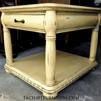 Yellow Chunky End Table with Black Glaze. From Facelift Furniture's End Tables collection.