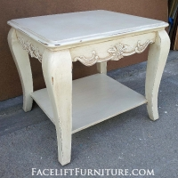 Chunky Ornate End Table in distressed Off White with Tobacco Glaze. From Facelift Furniture's End Tables collection.