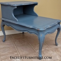 "French End Table in distressed Slate Blue over white primer, with Black Glaze. 29"" long, 20"" wide, 23.5"" tall."