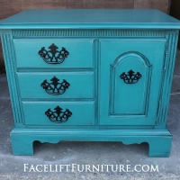 End Table custom painted in Peacock Blue with Black Glaze.  Original hardware painted black.  From Facelift Furniture's End Tables collection.