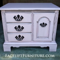 End Table custom painted Pink with Black Glaze.  Original hardware painted black.  From Facelift Furniture's End Tables collection.