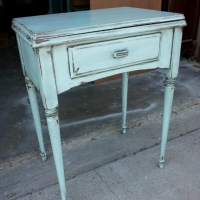 Sewing Table in Robin's Egg Blue with Black Glaze. From Facelift Furniture's End Tables collection.