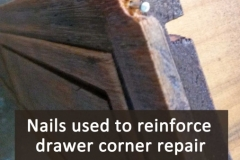 Drawer corner repair, nails reinforcement