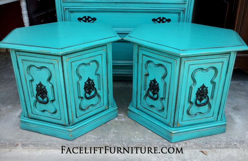 Hexagon End Tables in Turquoise with Black Glaze.  Original hardware painted black. From Facelift Furniture's End Tables collection.