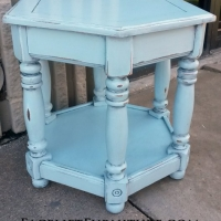 Hexagon End Table in distressed Robin's Egg Blue with Black Glaze. From Facelift Furniture's End Tables collection.