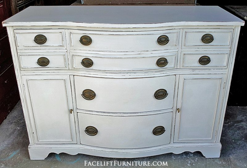 Antique Buffet in distressed Antiqued White. From Facelift Furniture's Hutches, Cabinets & Buffets collection.