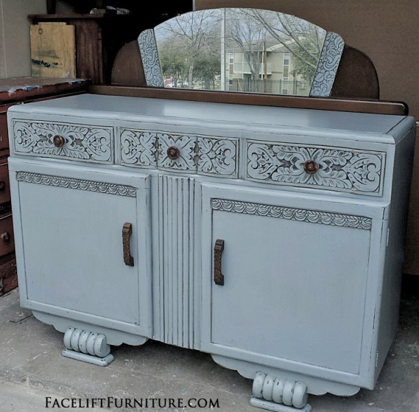 English Buffet in distressed Grey-Blue with Black Glaze. Portions of mirror frame kept in original finish. From Facelift Furniture's Hutches, Cabinets & Buffets collection.