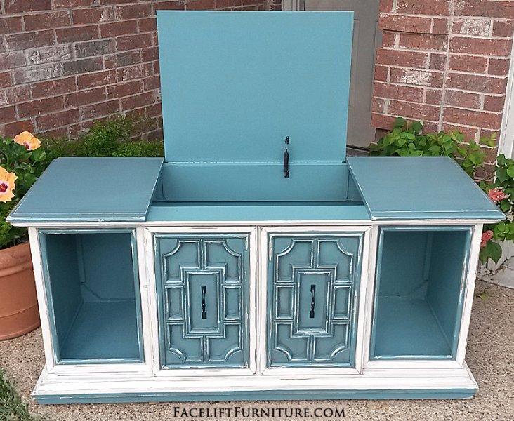 Vintage Stereo Cabinet in distressed Sea Blue & Off White with Black Glaze. Side doors slide to middle, and top opens up to large storage space created by removing stereo components and speakers (photo 2 of 2).
