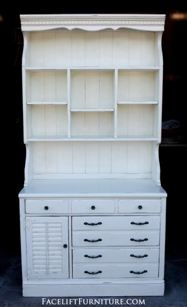 Ethan Allen Pine Hutch in distressed Antiqued White.