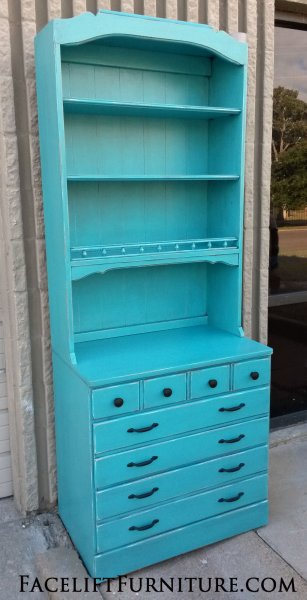 Maple Chest & Hutch in distressed Turquoise with Black Glaze. From Facelift Furniture's Hutches, Cabinets & Buffets collection.