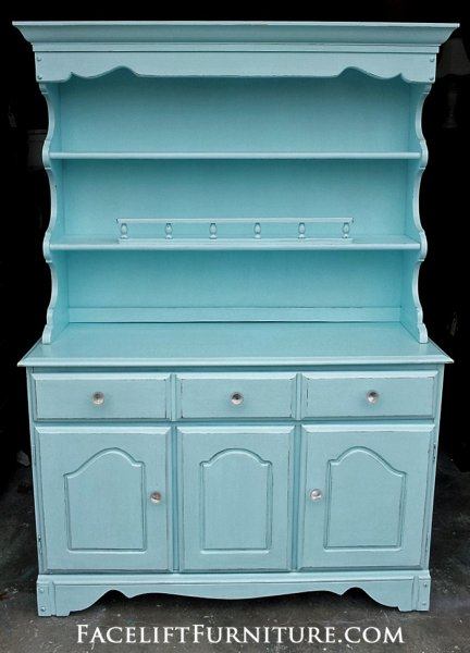 Maple Hutch in Robin's Egg Blue. From Facelift Furniture's Hutches, Cabinets & Buffets collection.