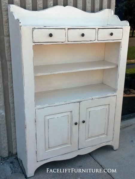 Pine Hutch in distressed Off White with Tobacco Glaze.